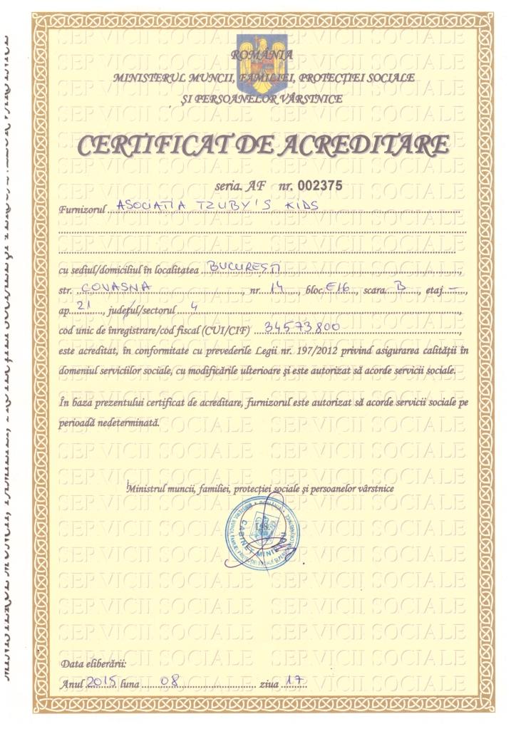 Tzuby s Kids - MMFPS Certificat de acreditare